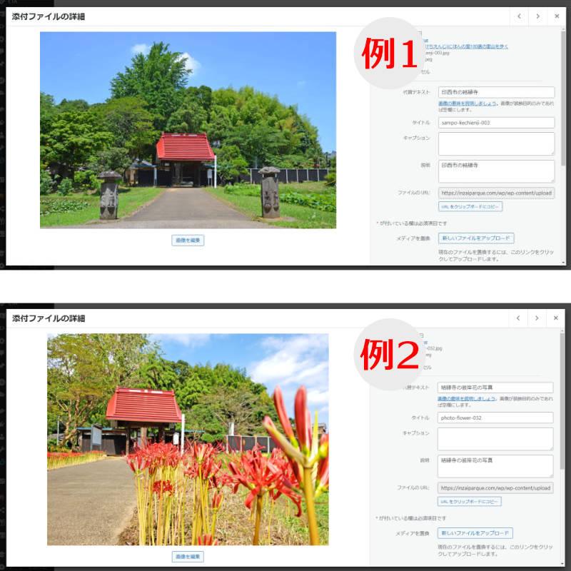 画像のalt属性や各項目の記入例